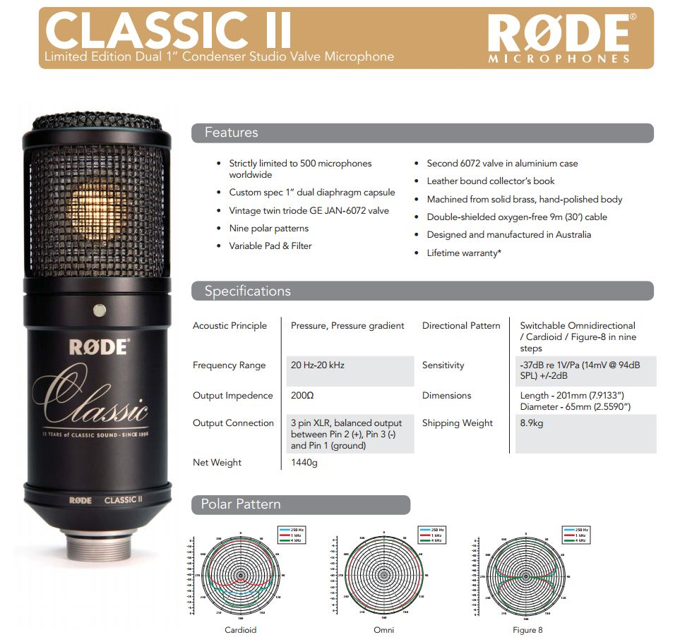 rode-classic-II-limited-edition_Data Sheet
